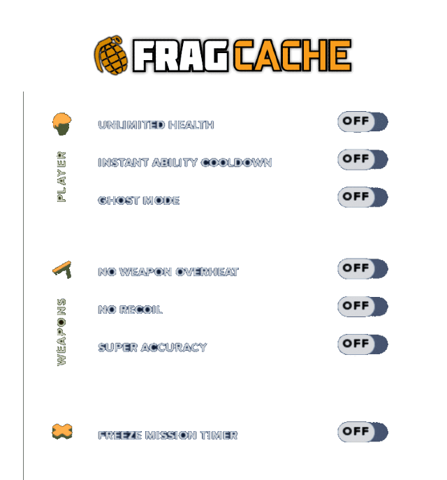 FragCache trainer mod menu cheat